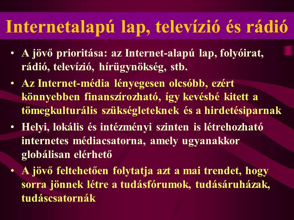 Internetalapú lap, televízió és rádió •A jövő prioritása: az Internet-alapú lap, folyóirat, rádió, televízió, hírügynökség, stb.