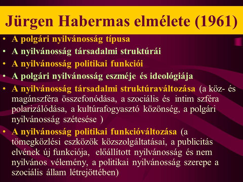 Jürgen Habermas elmélete (1961) •A polgári nyilvánosság típusa •A nyilvánosság társadalmi struktúrái •A nyilvánosság politikai funkciói •A polgári nyilvánosság eszméje és ideológiája •A nyilvánosság társadalmi struktúraváltozása (a köz- és magánszféra összefonódása, a szociális és intim szféra polarizálódása, a kultúrafogyasztó közönség, a polgári nyilvánosság szétesése ) •A nyilvánosság politikai funkcióváltozása (a tömegközlési eszközök közszolgáltatásai, a publicitás elvének új funkciója, előállított nyilvánosság és nem nyilvános vélemény, a politikai nyilvánosság szerepe a szociális állam létrejöttében)