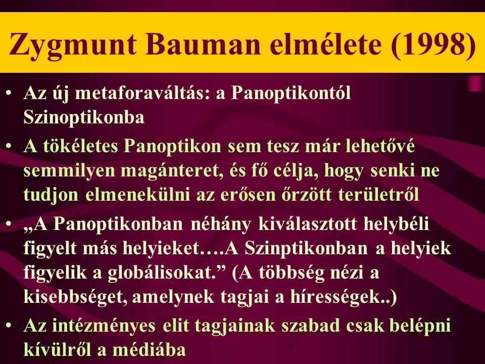 """Zygmunt Bauman elmélete (1998) •Az új metaforaváltás: a Panoptikontól Szinoptikonba •A tökéletes Panoptikon sem tesz már lehetővé semmilyen magánteret, és fő célja, hogy senki ne tudjon elmenekülni az erősen őrzött területről •""""A Panoptikonban néhány kiválasztott helybéli figyelt más helyieket….A Szinptikonban a helyiek figyelik a globálisokat. (A többség nézi a kisebbséget, amelynek tagjai a hírességek..) •Az intézményes elit tagjainak szabad csak belépni kívülről a médiába"""