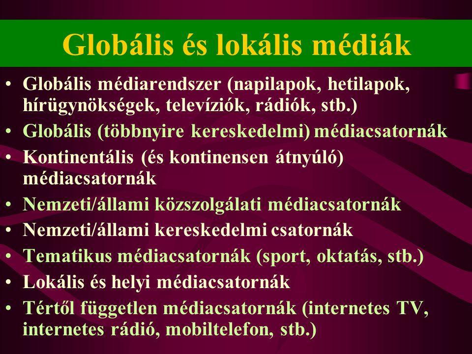 Globális és lokális médiák •Globális médiarendszer (napilapok, hetilapok, hírügynökségek, televíziók, rádiók, stb.) •Globális (többnyire kereskedelmi) médiacsatornák •Kontinentális (és kontinensen átnyúló) médiacsatornák •Nemzeti/állami közszolgálati médiacsatornák •Nemzeti/állami kereskedelmi csatornák •Tematikus médiacsatornák (sport, oktatás, stb.) •Lokális és helyi médiacsatornák •Tértől független médiacsatornák (internetes TV, internetes rádió, mobiltelefon, stb.)
