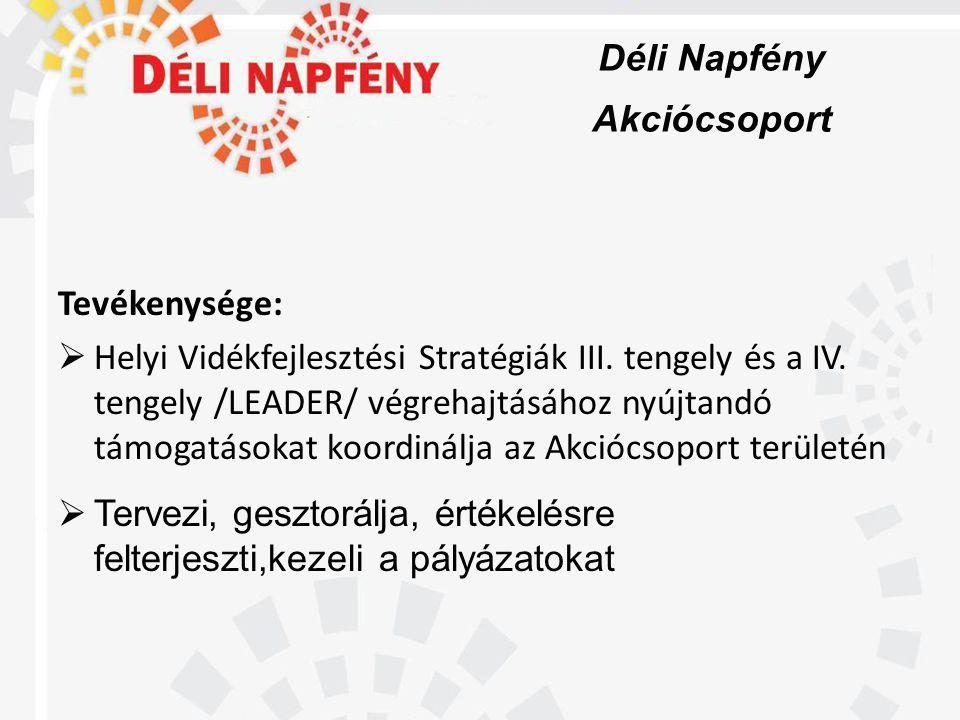Déli Napfény Akciócsoport Tevékenysége:  Helyi Vidékfejlesztési Stratégiák III.