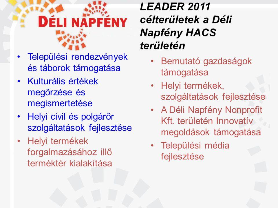 LEADER 2011 célterületek a Déli Napfény HACS területén •Települési rendezvények és táborok támogatása •Kulturális értékek megőrzése és megismertetése •Helyi civil és polgárőr szolgáltatások fejlesztése •Helyi termékek forgalmazásához illő terméktér kialakítása •Bemutató gazdaságok támogatása •Helyi termékek, szolgáltatások fejlesztése •A Déli Napfény Nonprofit Kft.