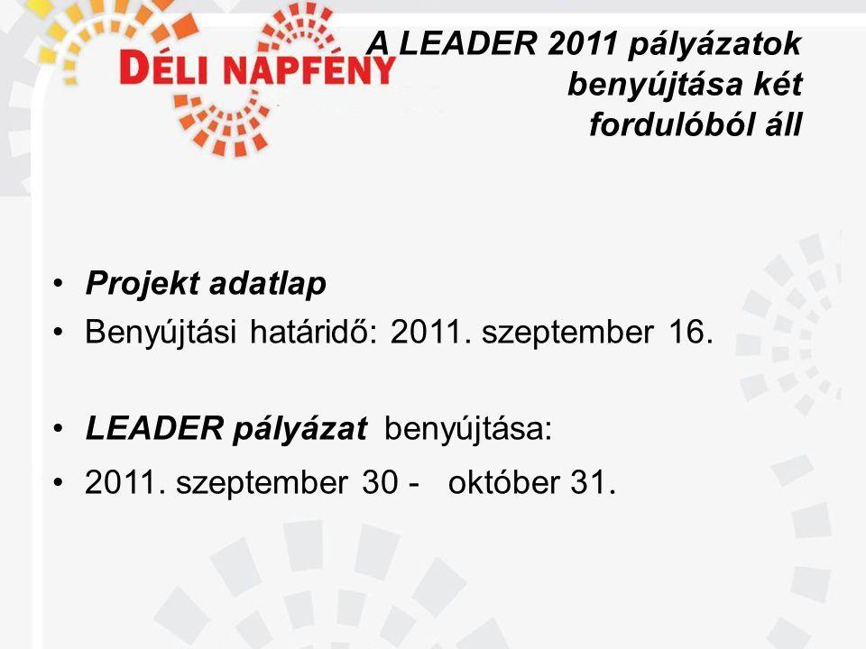 A LEADER 2011 pályázatok benyújtása két fordulóból áll •Projekt adatlap •Benyújtási határidő: 2011.