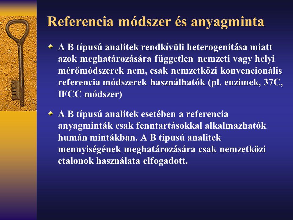 Referencia módszer és anyagminta A B típusú analitek rendkívüli heterogenitása miatt azok meghatározására független nemzeti vagy helyi mérőmódszerek n