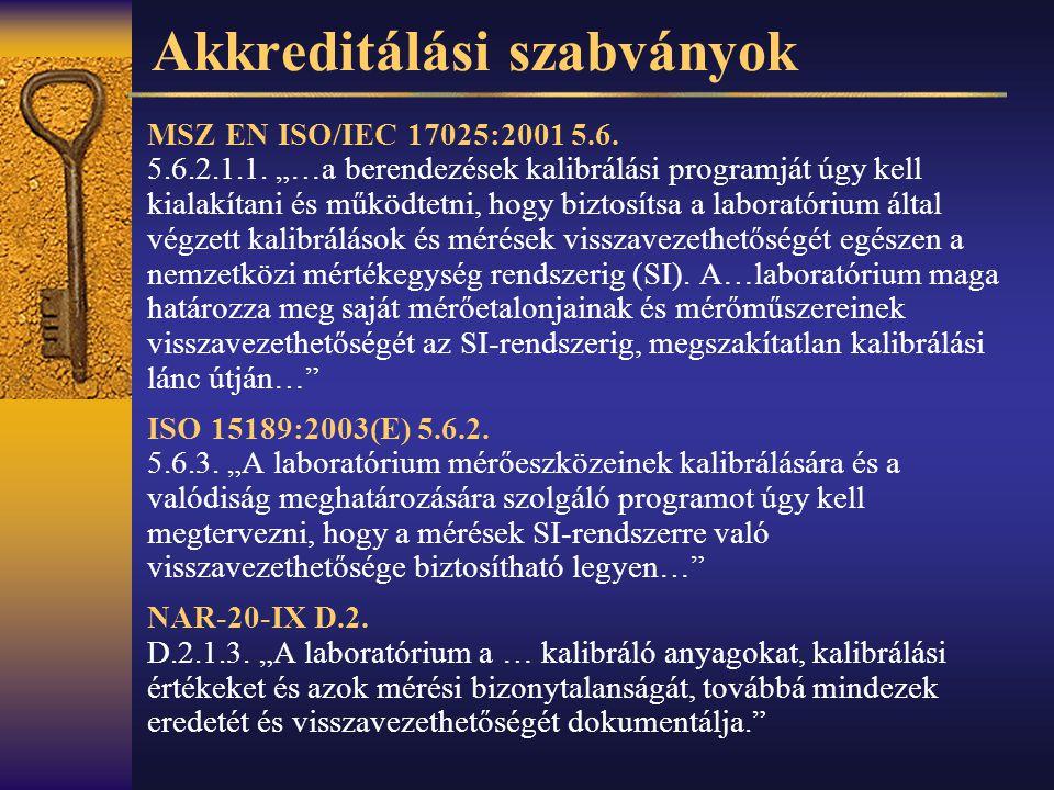 Szabványok prEN ISO 17511:2000 In vitro diagnostic medical devices.