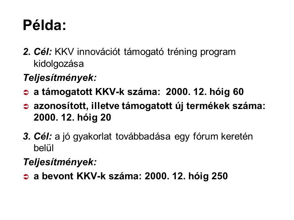 Példa: 2. Cél: KKV innovációt támogató tréning program kidolgozása Teljesítmények:  a támogatott KKV-k száma: 2000. 12. hóig 60  azonosított, illetv