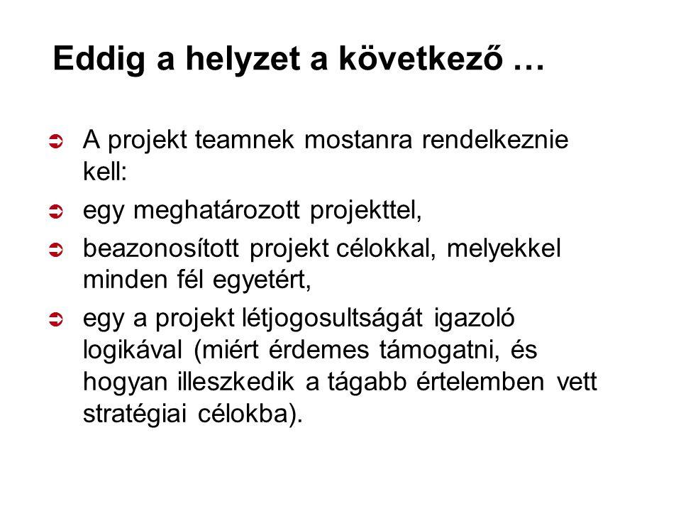 Eddig a helyzet a következő …  A projekt teamnek mostanra rendelkeznie kell:  egy meghatározott projekttel,  beazonosított projekt célokkal, melyekkel minden fél egyetért,  egy a projekt létjogosultságát igazoló logikával (miért érdemes támogatni, és hogyan illeszkedik a tágabb értelemben vett stratégiai célokba).