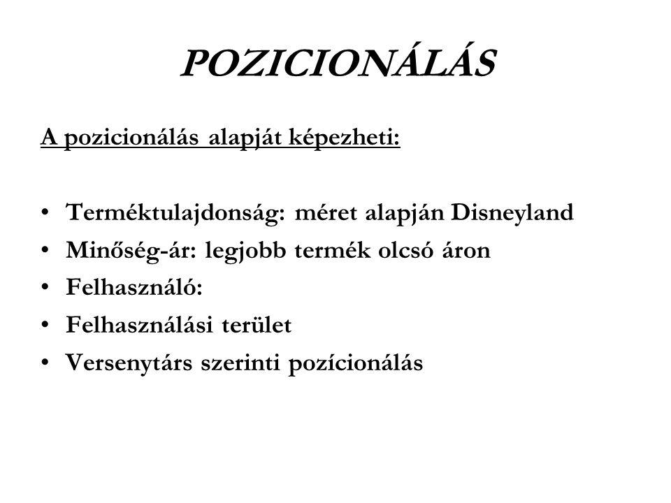 POZICIONÁLÁS A pozicionálás alapját képezheti: •Terméktulajdonság: méret alapján Disneyland •Minőség-ár: legjobb termék olcsó áron •Felhasználó: •Felh