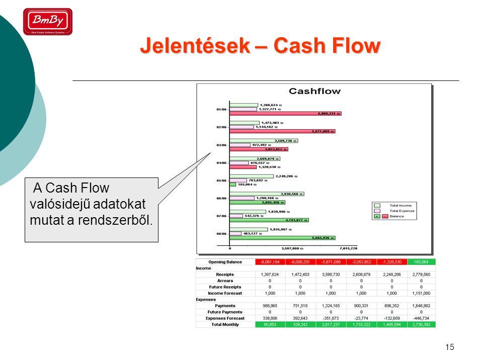 15 Jelentések – Cash Flow A Cash Flow valósidejű adatokat mutat a rendszerből.