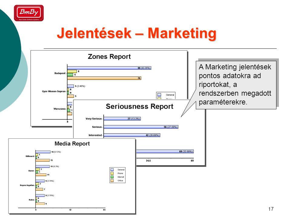 17 Jelentések – Marketing A Marketing jelentések pontos adatokra ad riportokat, a rendszerben megadott paraméterekre.