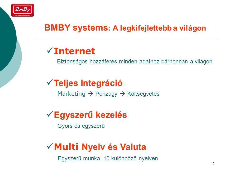 2 BMBY systems : A legkifejlettebb a világon  Internet  Teljes Integráció  Egyszerű kezelés  Multi Nyelv és Valuta Biztonságos hozzáférés minden adathoz bárhonnan a világon Marketing  Pénzügy  Költségvetés Gyors és egyszerű Egyszerű munka, 10 különböző nyelven