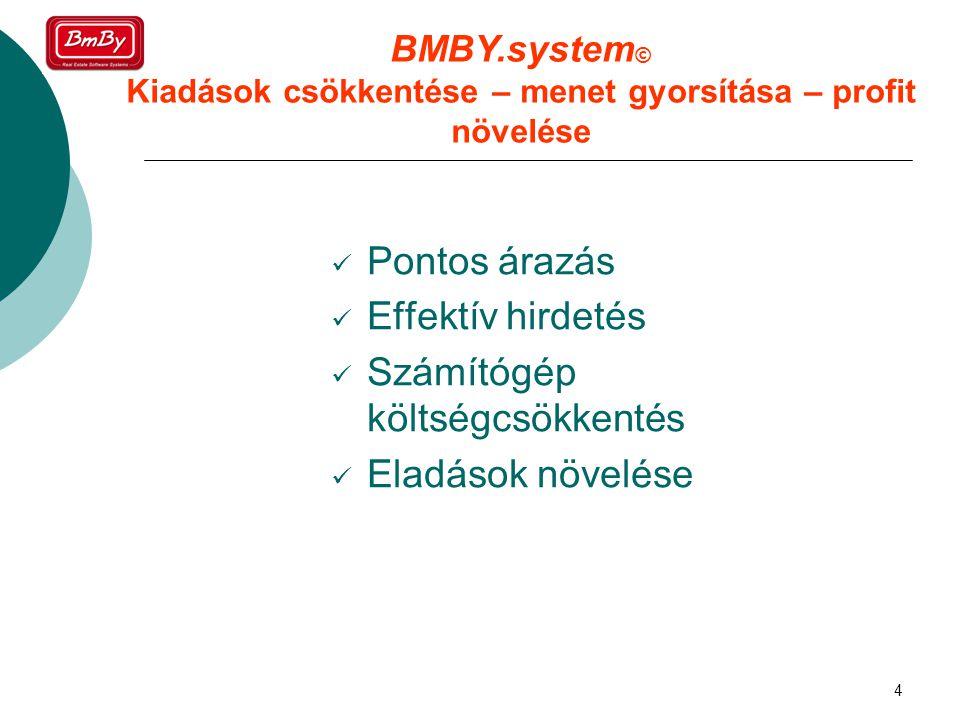 4  Pontos árazás  Effektív hirdetés  Számítógép költségcsökkentés  Eladások növelése BMBY.system © Kiadások csökkentése – menet gyorsítása – profit növelése