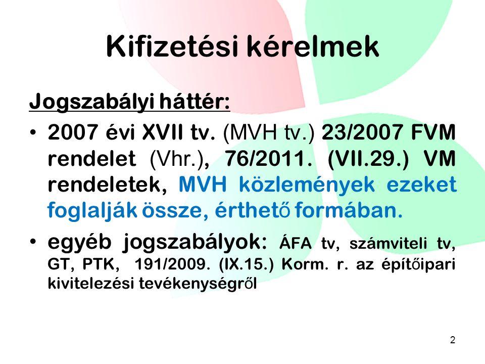 Kifizetési kérelmek Jogszabályi háttér: • 2007 évi XVII tv. (MVH tv.) 23/2007 FVM rendelet (Vhr.), 76/2011. (VII.29.) VM rendeletek, MVH közlemények e