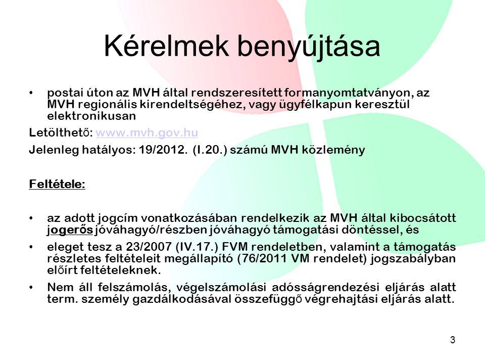 Kérelmek benyújtása • postai úton az MVH által rendszeresített formanyomtatványon, az MVH regionális kirendeltségéhez, vagy ügyfélkapun keresztül elek