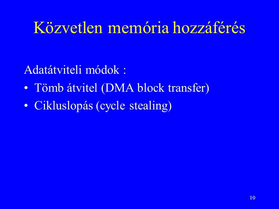 10 Közvetlen memória hozzáférés Adatátviteli módok : •Tömb átvitel (DMA block transfer) •Cikluslopás (cycle stealing)