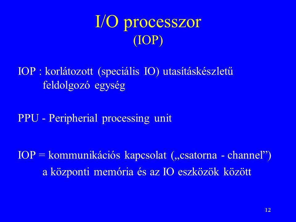 """12 I/O processzor (IOP) IOP = kommunikációs kapcsolat (""""csatorna - channel ) a központi memória és az IO eszközök között PPU - Peripherial processing unit IOP : korlátozott (speciális IO) utasításkészletű feldolgozó egység"""