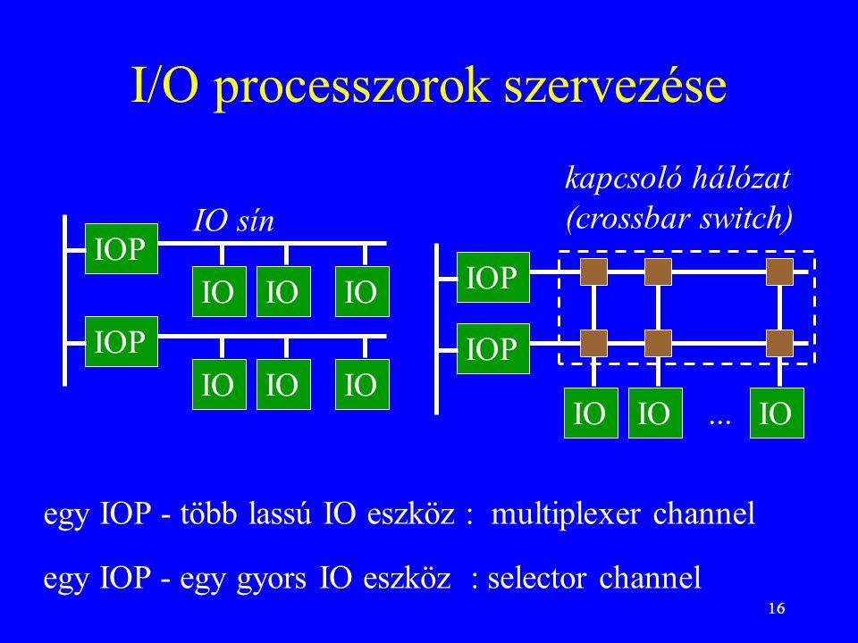 16 I/O processzorok szervezése IOP IO IOP IO IO sín IOP IO kapcsoló hálózat (crossbar switch) egy IOP - több lassú IO eszköz : multiplexer channel egy IOP - egy gyors IO eszköz : selector channel...