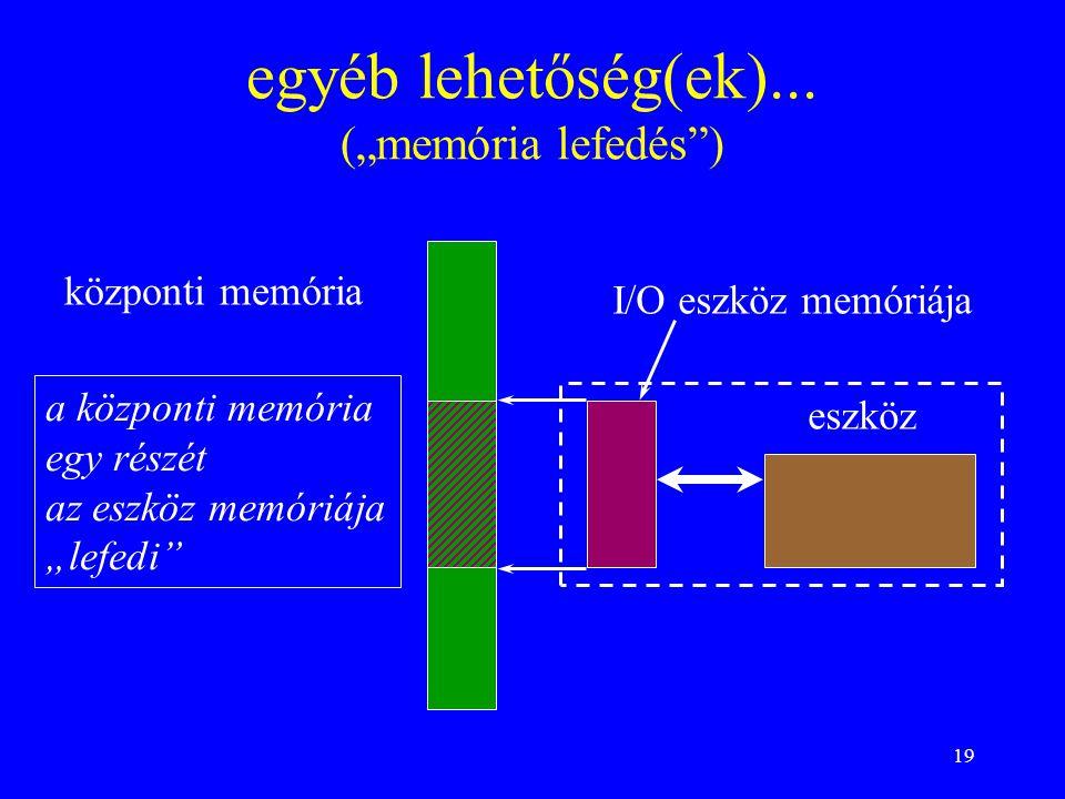 """19 egyéb lehetőség(ek)... (""""memória lefedés"""") központi memória I/O eszköz memóriája eszköz a központi memória egy részét az eszköz memóriája """"lefedi"""""""