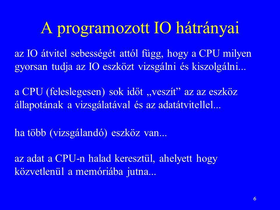 """6 A programozott IO hátrányai a CPU (feleslegesen) sok időt """"veszít"""" az az eszköz állapotának a vizsgálatával és az adatátvitellel... ha több (vizsgál"""