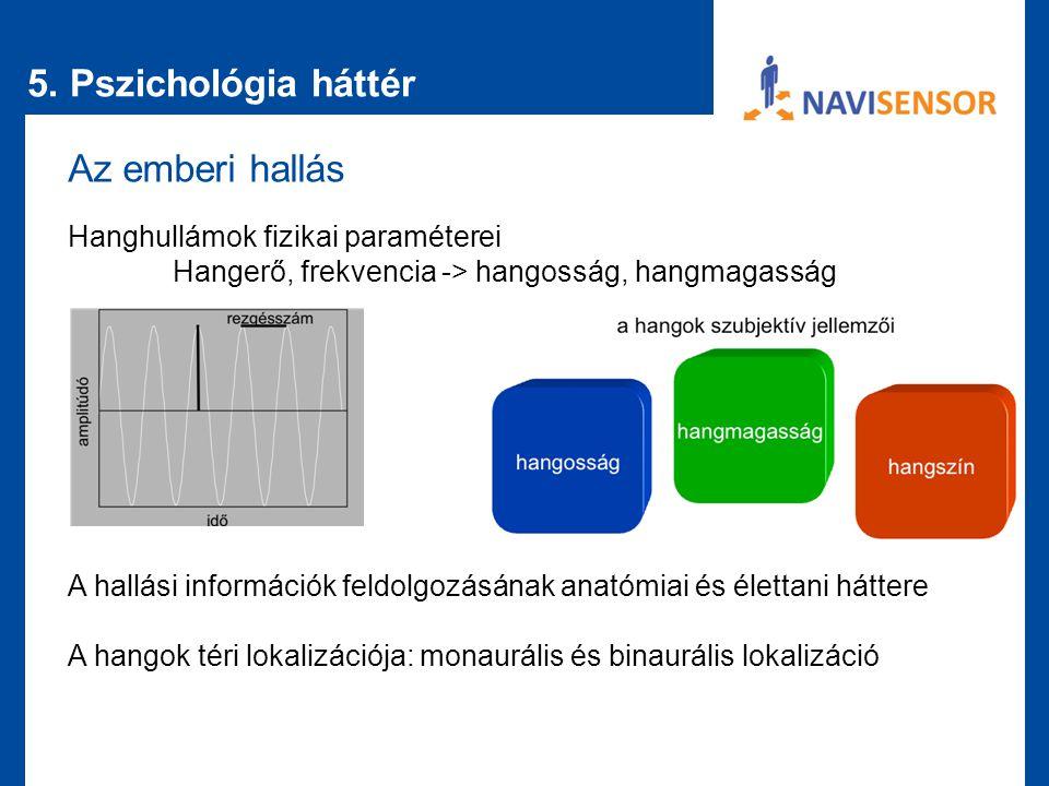 5. Pszichológia háttér Az emberi hallás Hanghullámok fizikai paraméterei Hangerő, frekvencia -> hangosság, hangmagasság A hallási információk feldolgo