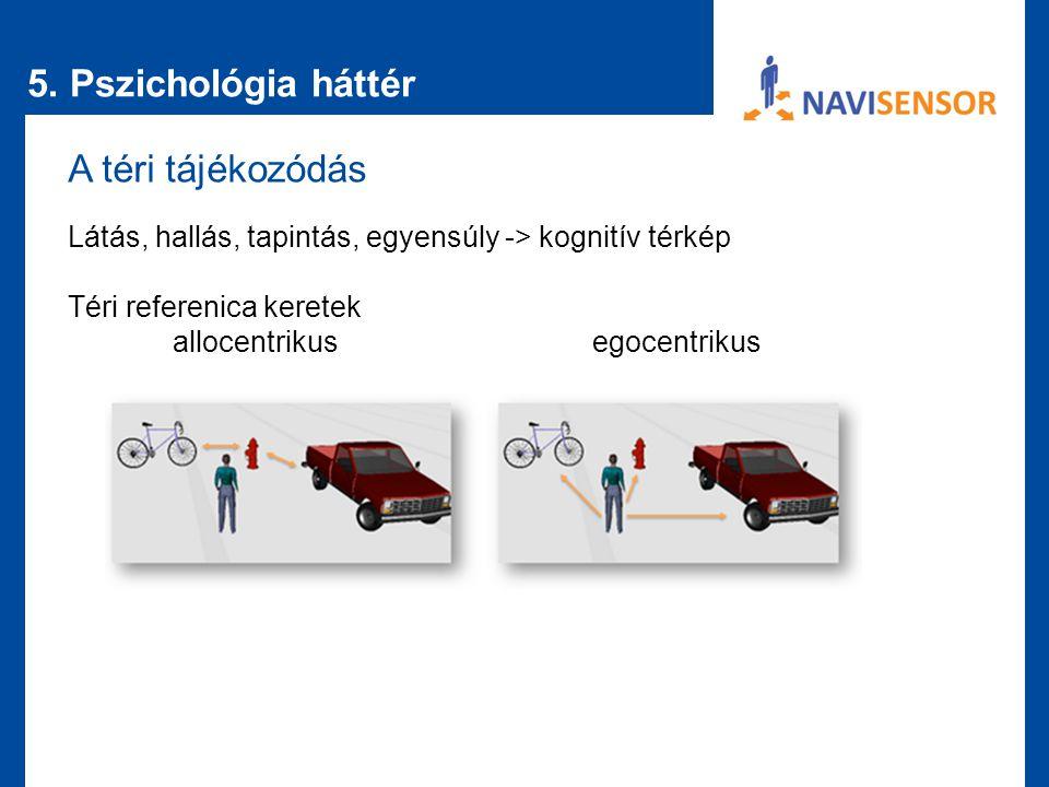 5. Pszichológia háttér A téri tájékozódás Látás, hallás, tapintás, egyensúly -> kognitív térkép Téri referenica keretek allocentrikusegocentrikus