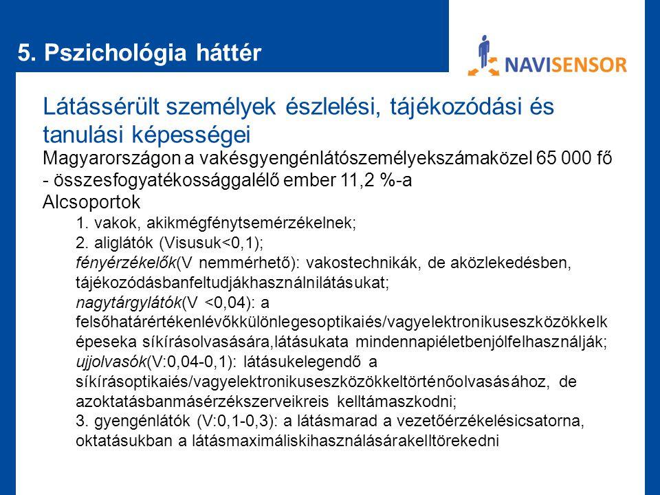 5. Pszichológia háttér Látássérült személyek észlelési, tájékozódási és tanulási képességei Magyarországon a vakésgyengénlátószemélyekszámaközel 65 00
