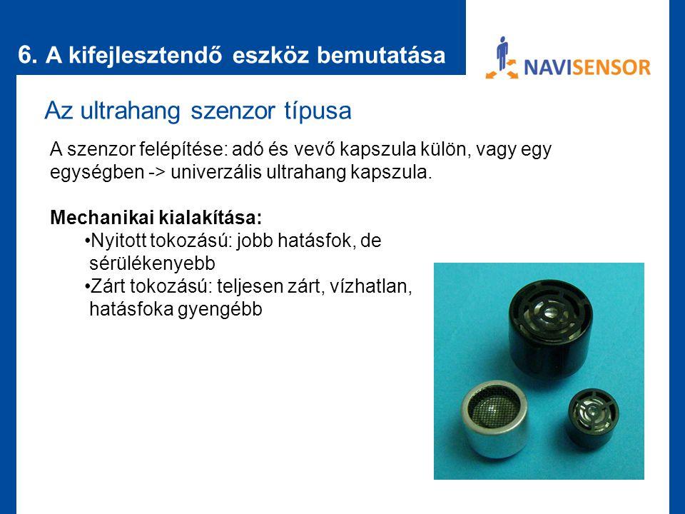 6. A kifejlesztendő eszköz bemutatása Az ultrahang szenzor típusa A szenzor felépítése: adó és vevő kapszula külön, vagy egy egységben -> univerzális