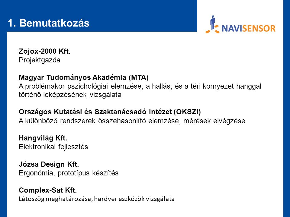 1. Bemutatkozás Zojox-2000 Kft. Projektgazda Magyar Tudományos Akadémia (MTA) A problémakör pszichológiai elemzése, a hallás, és a téri környezet hang