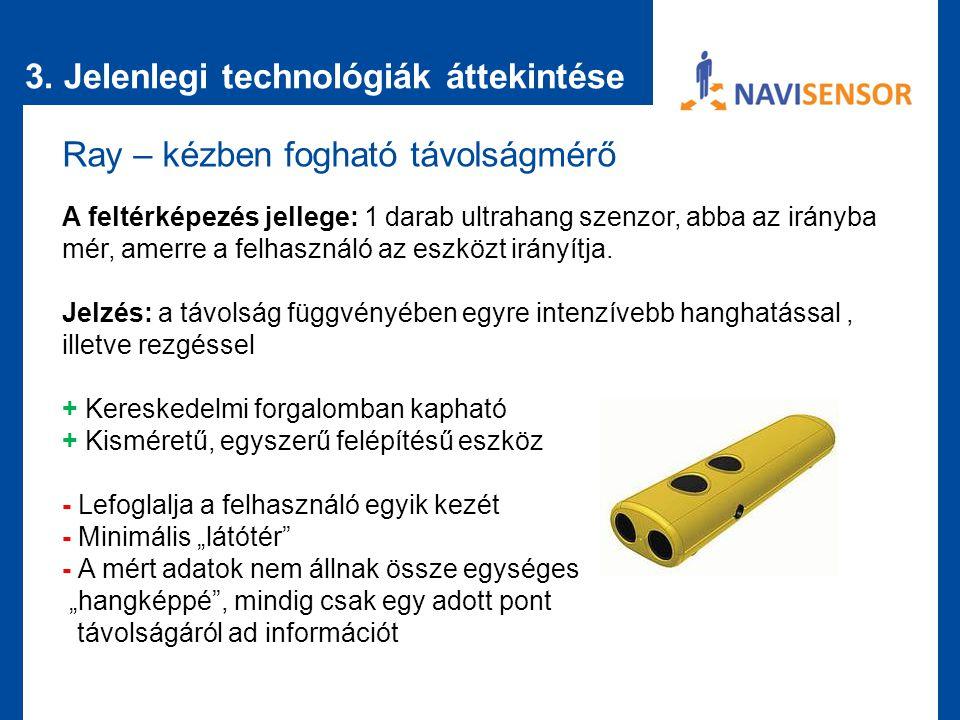 3. Jelenlegi technológiák áttekintése Ray – kézben fogható távolságmérő A feltérképezés jellege: 1 darab ultrahang szenzor, abba az irányba mér, amerr