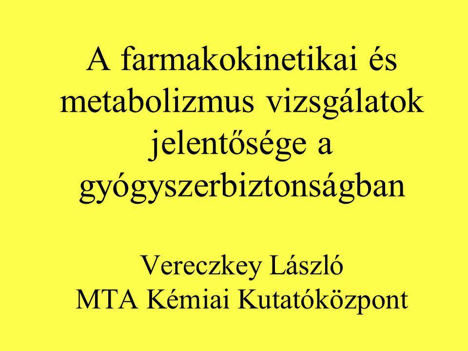 A farmakokinetikai és metabolizmus vizsgálatok jelentősége a gyógyszerbiztonságban Vereczkey László MTA Kémiai Kutatóközpont