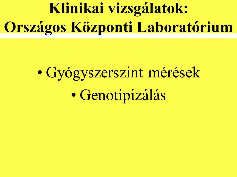 Klinikai vizsgálatok: Országos Központi Laboratórium •Gyógyszerszint mérések •Genotipizálás