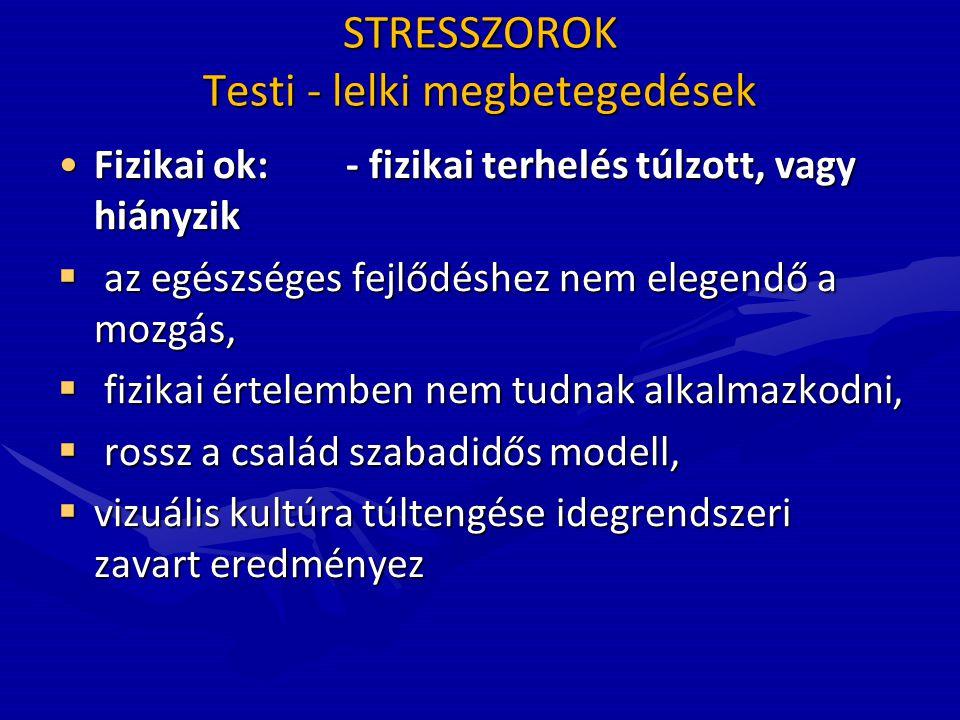 STRESSZOROK Testi - lelki megbetegedések •Fizikai ok:- fizikai terhelés túlzott, vagy hiányzik  az egészséges fejlődéshez nem elegendő a mozgás,  fi