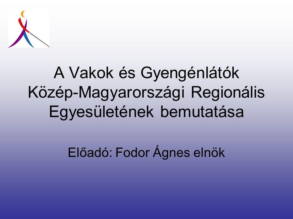 A Vakok és Gyengénlátók Közép-Magyarországi Regionális Egyesületének bemutatása Előadó: Fodor Ágnes elnök