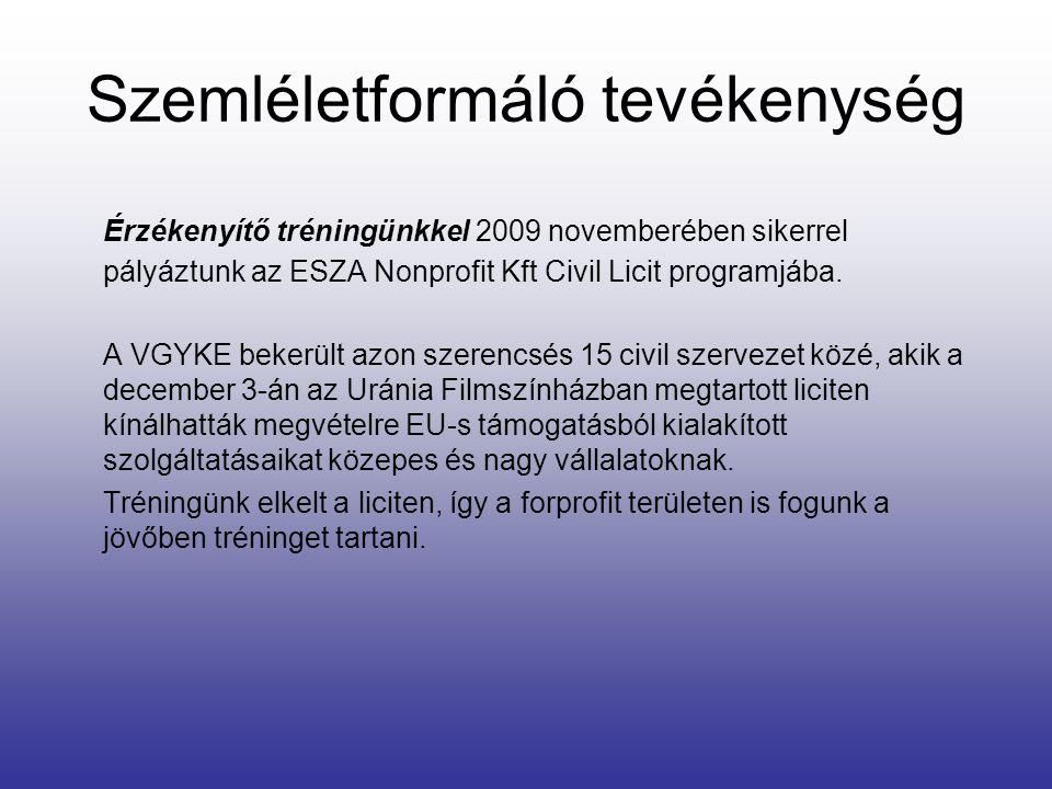 Szemléletformáló tevékenység Érzékenyítő tréningünkkel 2009 novemberében sikerrel pályáztunk az ESZA Nonprofit Kft Civil Licit programjába. A VGYKE be