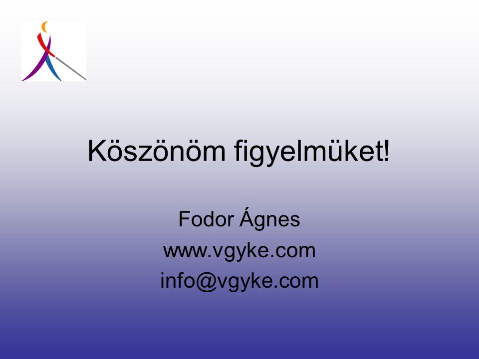 Köszönöm figyelmüket! Fodor Ágnes www.vgyke.com info@vgyke.com