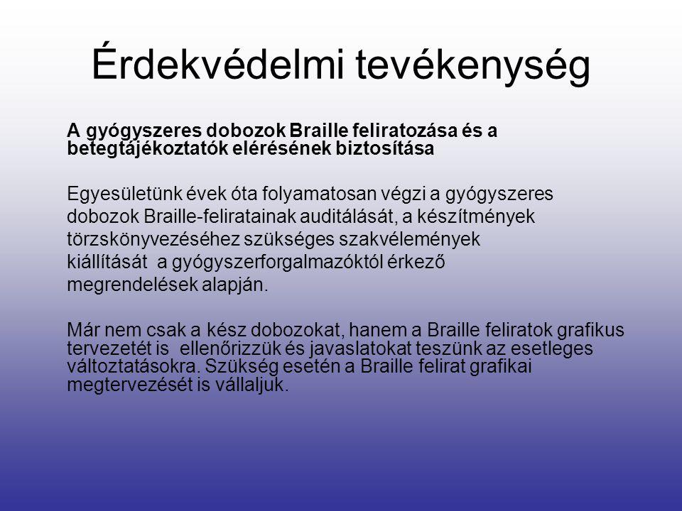 A gyógyszeres dobozok Braille feliratozása és a betegtájékoztatók elérésének biztosítása Egyesületünk évek óta folyamatosan végzi a gyógyszeres dobozo