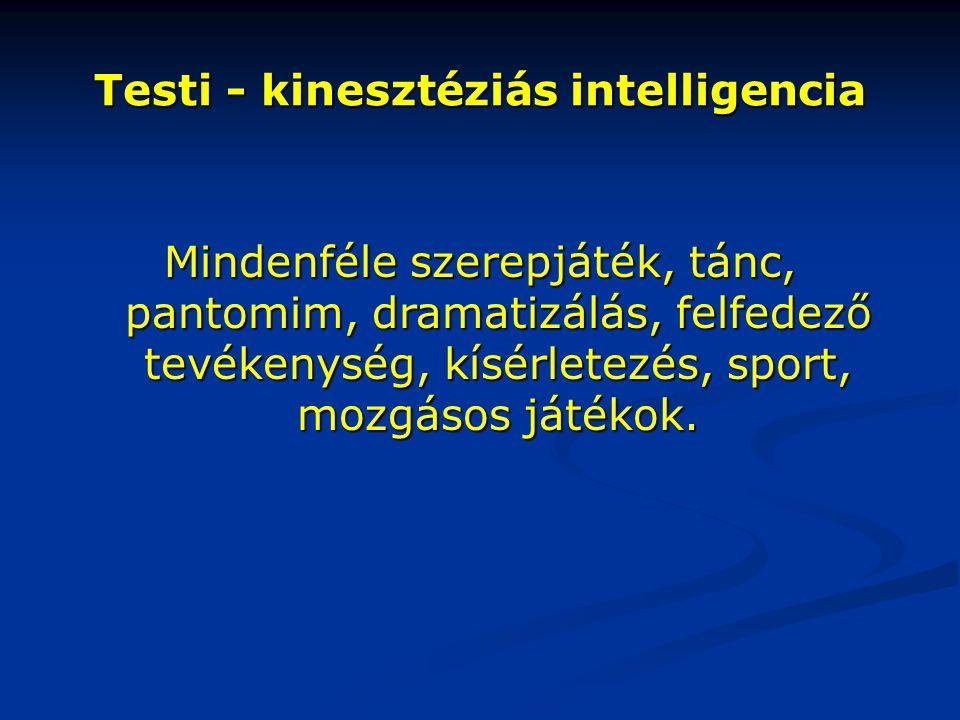 Testi - kinesztéziás intelligencia Mindenféle szerepjáték, tánc, pantomim, dramatizálás, felfedező tevékenység, kísérletezés, sport, mozgásos játékok.