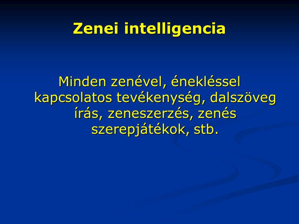 Zenei intelligencia Minden zenével, énekléssel kapcsolatos tevékenység, dalszöveg írás, zeneszerzés, zenés szerepjátékok, stb.