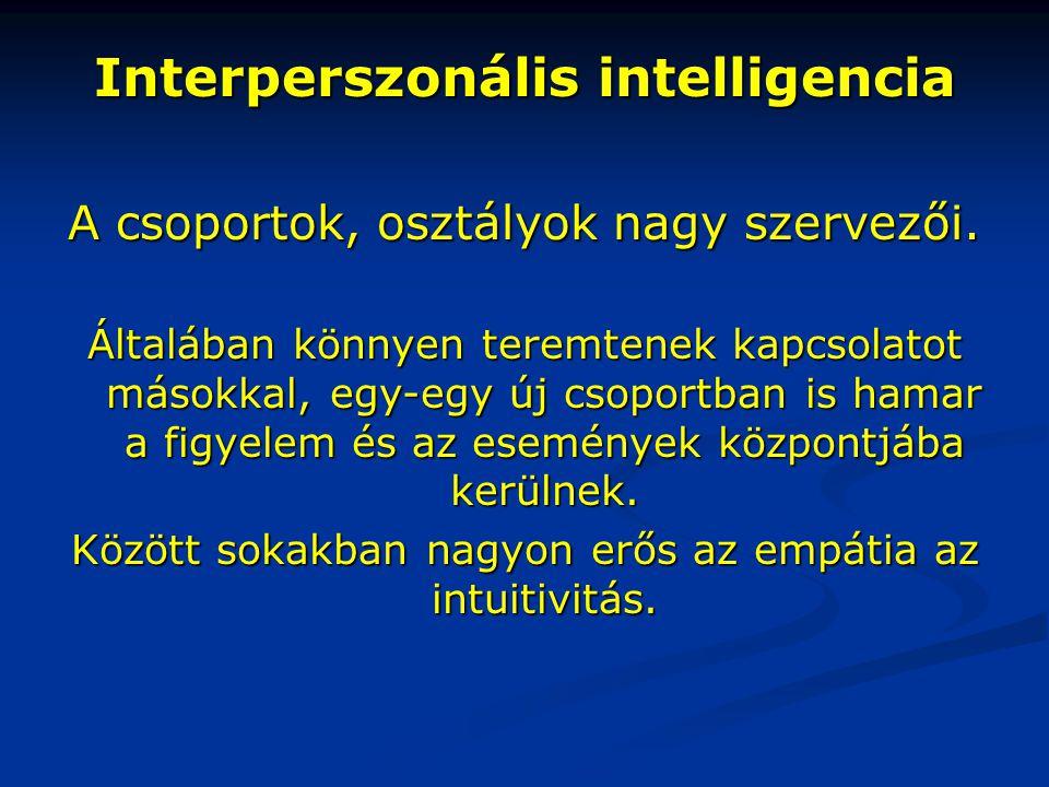 Interperszonális intelligencia A csoportok, osztályok nagy szervezői. Általában könnyen teremtenek kapcsolatot másokkal, egy-egy új csoportban is hama