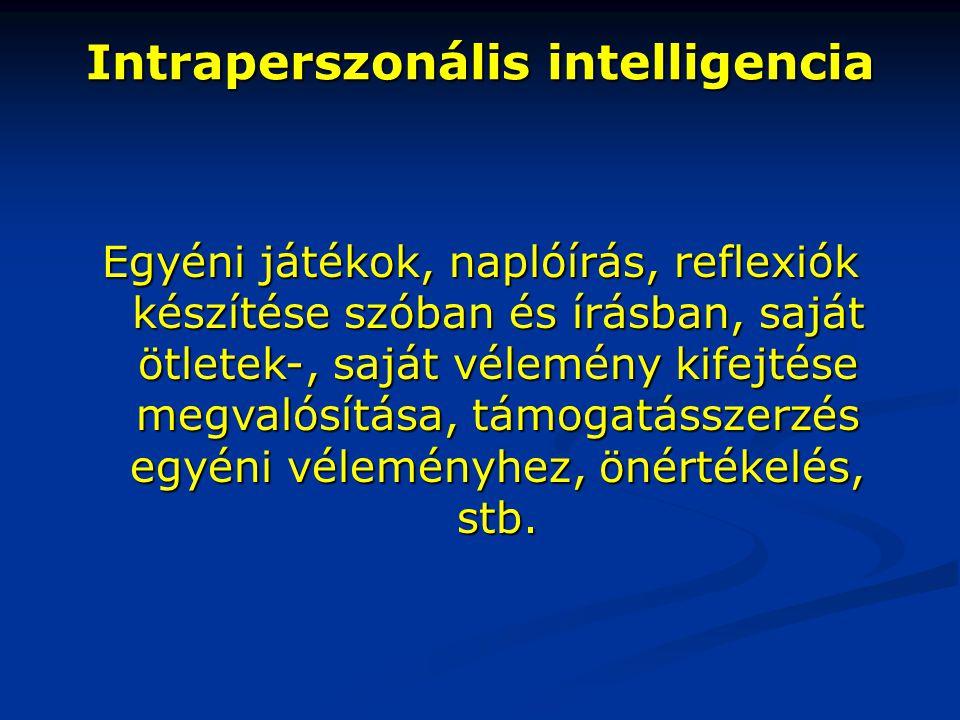 Intraperszonális intelligencia Egyéni játékok, naplóírás, reflexiók készítése szóban és írásban, saját ötletek-, saját vélemény kifejtése megvalósítás