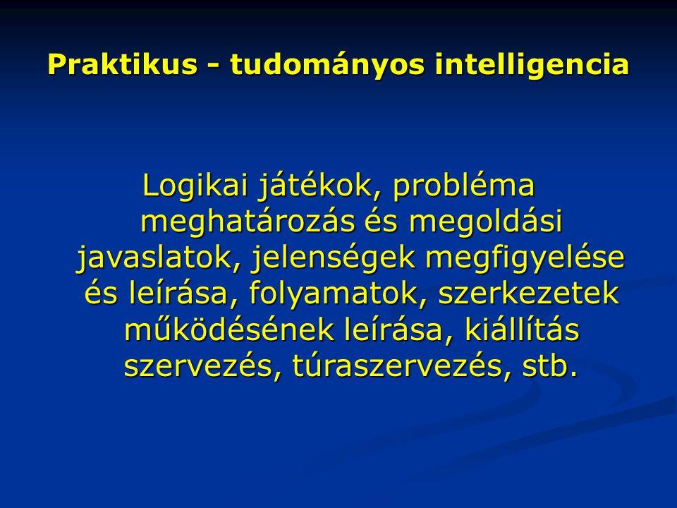 Praktikus - tudományos intelligencia Logikai játékok, probléma meghatározás és megoldási javaslatok, jelenségek megfigyelése és leírása, folyamatok, s