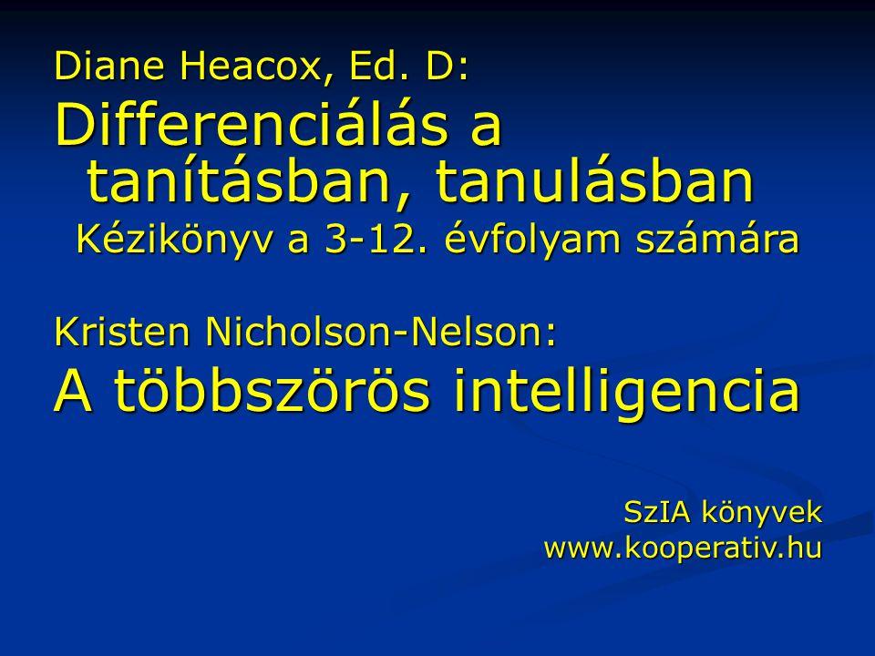 Diane Heacox, Ed. D: Differenciálás a tanításban, tanulásban Kézikönyv a 3-12. évfolyam számára Kristen Nicholson-Nelson: A többszörös intelligencia S