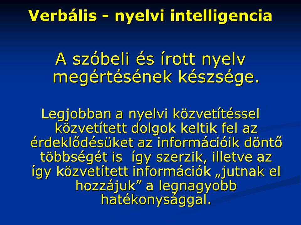 Verbális - nyelvi intelligencia A szóbeli és írott nyelv megértésének készsége. Legjobban a nyelvi közvetítéssel közvetített dolgok keltik fel az érde
