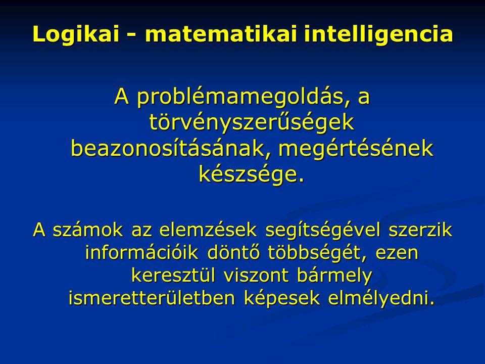 Logikai - matematikai intelligencia A problémamegoldás, a törvényszerűségek beazonosításának, megértésének készsége. A számok az elemzések segítségéve