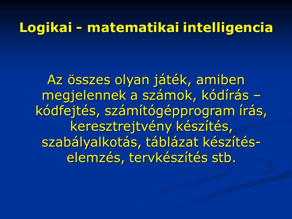 Logikai - matematikai intelligencia Az összes olyan játék, amiben megjelennek a számok, kódírás – kódfejtés, számítógépprogram írás, keresztrejtvény k