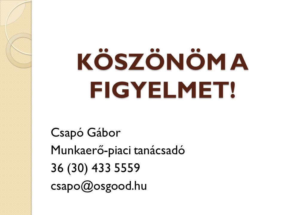 KÖSZÖNÖM A FIGYELMET! Csapó Gábor Munkaerő-piaci tanácsadó 36 (30) 433 5559 csapo@osgood.hu