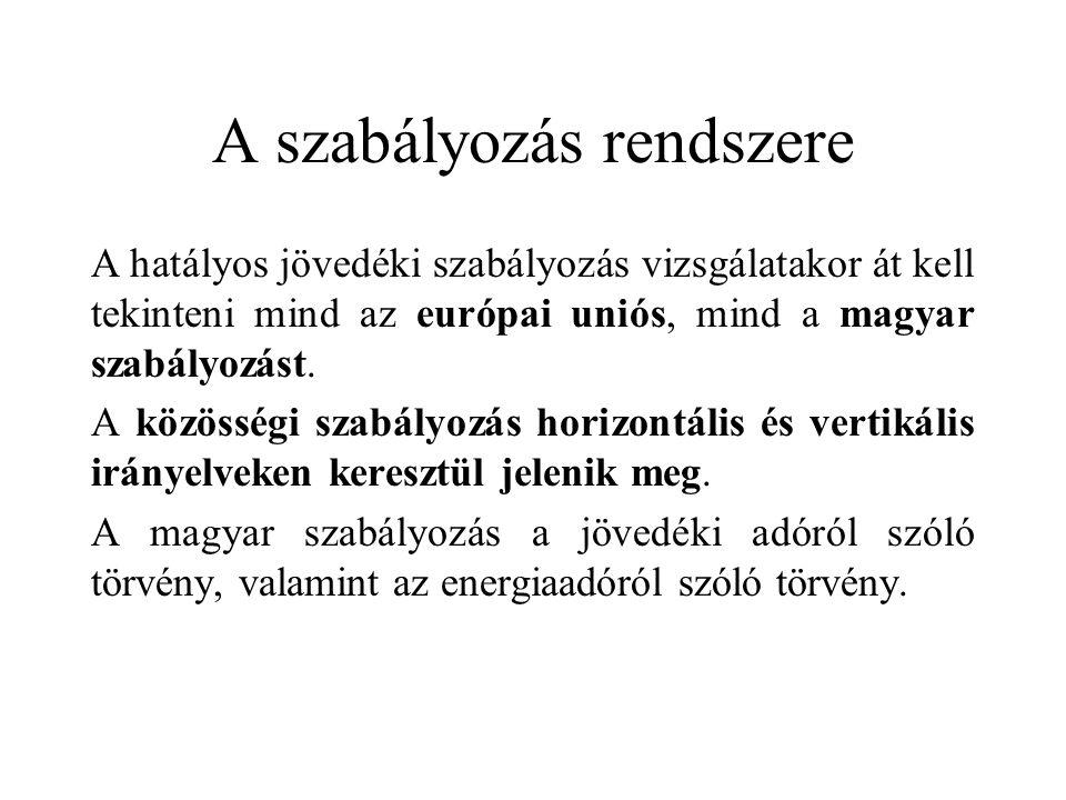 A szabályozás rendszere A hatályos jövedéki szabályozás vizsgálatakor át kell tekinteni mind az európai uniós, mind a magyar szabályozást. A közösségi