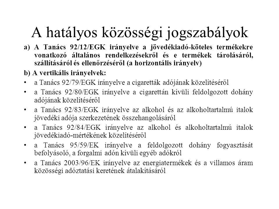 A hatályos közösségi jogszabályok a) A Tanács 92/12/EGK irányelve a jövedékiadó-köteles termékekre vonatkozó általános rendelkezésekről és e termékek