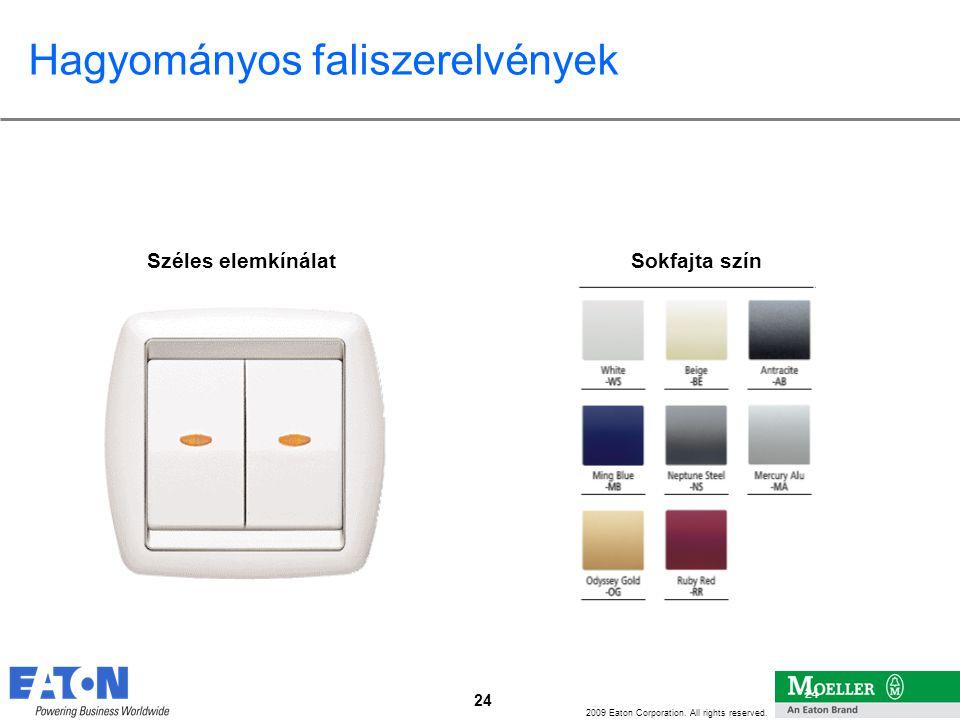 24 2009 Eaton Corporation. All rights reserved. 24 Széles elemkínálat Hagyományos faliszerelvények Sokfajta szín