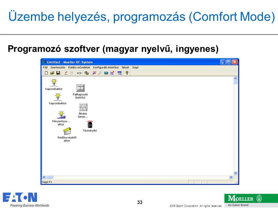 33 2009 Eaton Corporation. All rights reserved. 33 Programozó szoftver (magyar nyelvű, ingyenes) Üzembe helyezés, programozás (Comfort Mode)